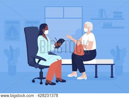 Geriatric Counseling Flat Color Vector Illustration. Doctor Visit During Covid. Health Center. Prima