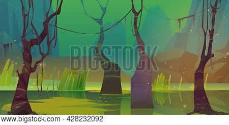 Night Landscape With Swamp And Mountains. Vector Cartoon Illustration Of Marsh With Bare Trees Trunk