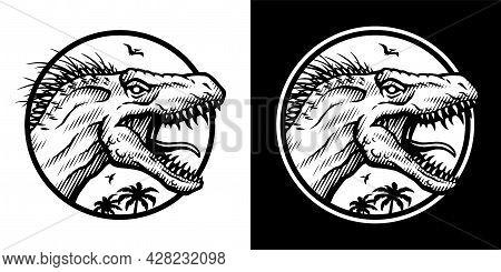 Indoraptor, X-rex In Two Versions. Vector Illustration.