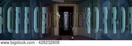 Horror Poster With Zombie Hands In Dark Doorway In Old House. Scary Halloween Flyer With Monster In