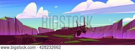 Mountain Landscape With Wooden Suspension Bridge Over Precipice. Vector Cartoon Illustration Of Rock
