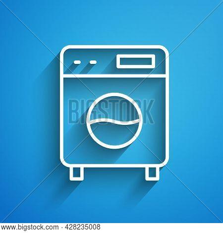 White Line Washer Icon Isolated On Blue Background. Washing Machine Icon. Clothes Washer - Laundry M