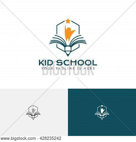 Kid Reach Star Book Happy School Study Education Logo