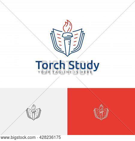 Light Fire Flame Torch Book School Study Education Line Logo