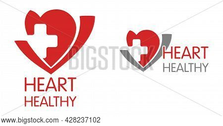 Heart-healthy Foods Label - Nutrition That Not Influenses Risk Of Heart Disease. Heart Shape And Cro