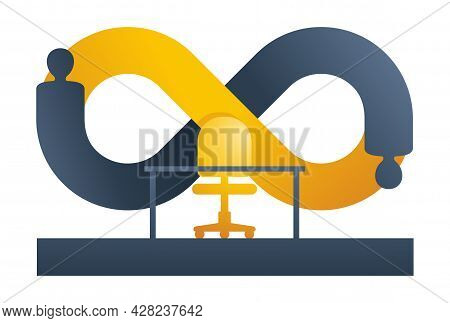 Employee Turnover In Human Resources As Infinity Sign - Act Of Replacing A Worker With A New One, Th