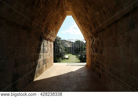 Maya Gate In The City Of Uxmal, Mexico. High Quality Photo