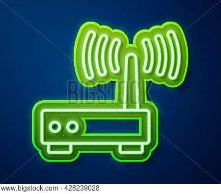 Glowing Neon Line Router And Wi-fi Signal Icon Isolated On Blue Background. Wireless Ethernet Modem