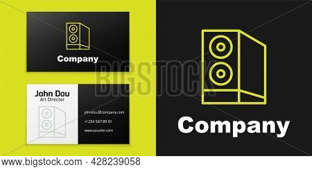 Logotype Line Case Of Computer Icon Isolated On Black Background. Computer Server. Workstation. Logo