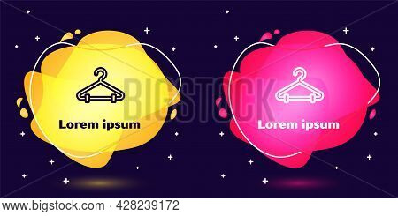 Set Line Hanger Wardrobe Icon Isolated On Blue Background. Cloakroom Icon. Clothes Service Symbol. L