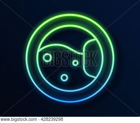 Glowing Neon Line Washer Icon Isolated On Blue Background. Washing Machine Icon. Clothes Washer - La
