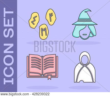 Set Mantle, Cloak, Cape, Magic Runes, Ancient Magic Book And Witch Icon. Vector