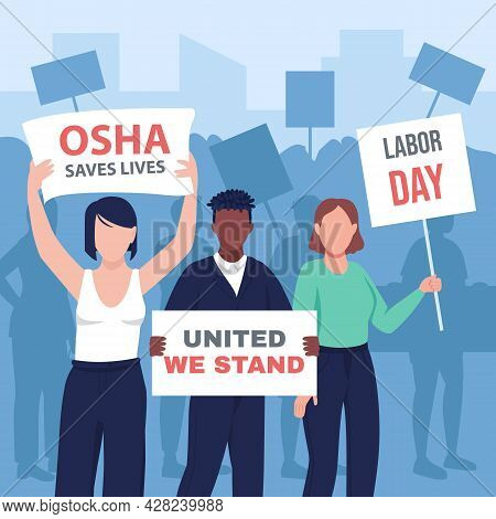 Peaceful Labor Day Demonstration Flat Color Vector Illustration. May Day March. Employee Activism. H