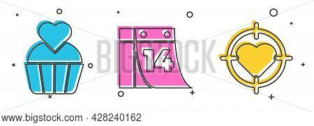 Set Wedding Cake With Heart, Calendar With February 14 And Heart In The Center Of Darts Target Aim I