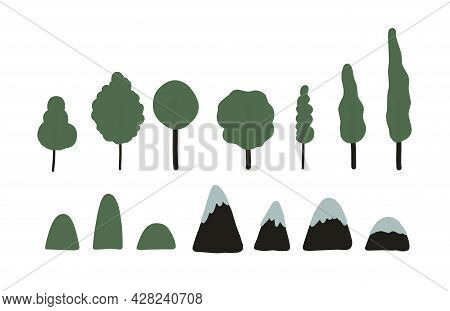 Trees And Mountains. Simple Illustration. Elements For Board Games And Cartographic Planes. Landscap