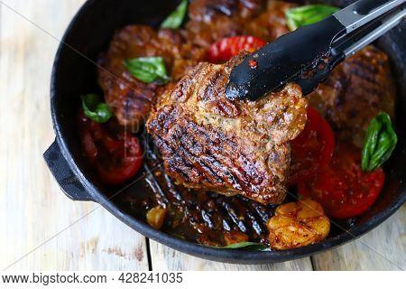 Juicy Appetizing Grilled Steak. Appetizing Juicy Grilled Steak.