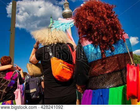 Berlin, Germany - June 26, 2021 - People At The Demonstration For Christopher Streer Day (csd) In Be