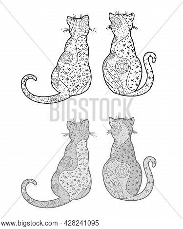 Cats. Zentangle. Hand Drawn Zen Animals With Abstract Patterns On Isolated Background. Different Col