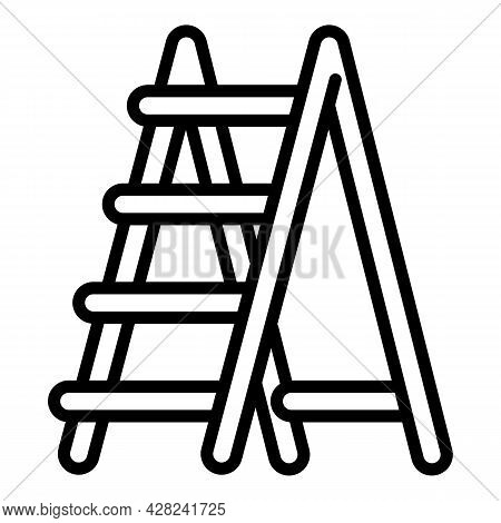 Garden Wood Ladder Icon. Outline Garden Wood Ladder Vector Icon For Web Design Isolated On White Bac