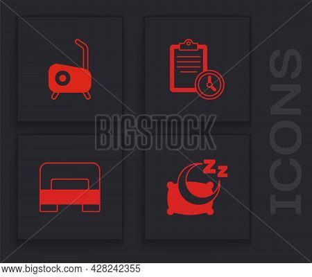Set Time To Sleep, Stationary Bicycle, Sport Training Program And Big Bed Icon. Vector