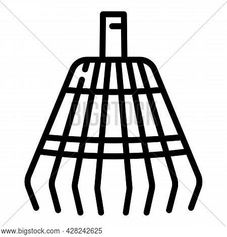 Gardening Leaf Rake Icon. Outline Gardening Leaf Rake Vector Icon For Web Design Isolated On White B