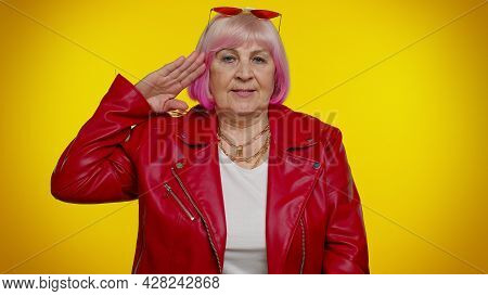 Yes Sir. Subordinate, Responsible Serious Mature Old Grandmother Giving Salute Listening To Order As