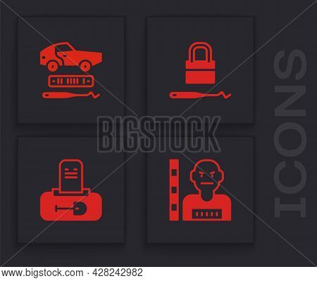 Set Suspect Criminal, Car Theft, Lock Picks For Lock Picking And Grave With Tombstone Icon. Vector