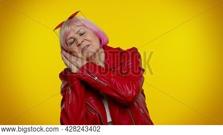 I Want To Sleep. Tired Elderly Granny Woman With Pink Hair Yawning, Sleepy Inattentive Feeling Somno