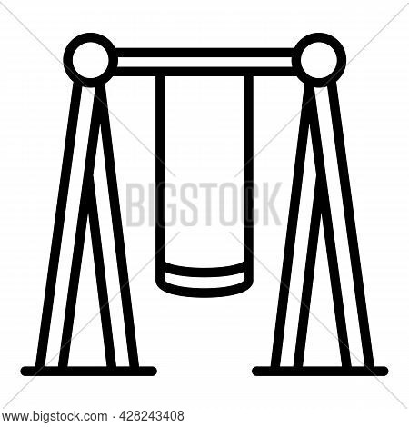 Kid Playground Swing Icon. Outline Kid Playground Swing Vector Icon For Web Design Isolated On White