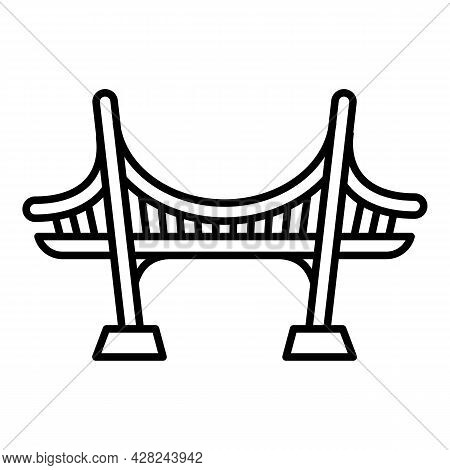 Sea Bridge Icon. Outline Sea Bridge Vector Icon For Web Design Isolated On White Background