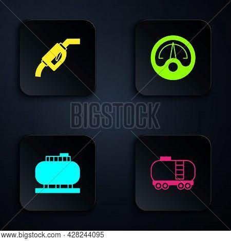 Set Oil Railway Cistern, Gasoline Pump Nozzle, Tank Storage And Motor Gas Gauge. Black Square Button