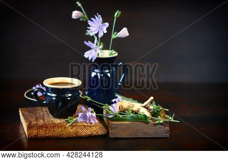 Chicory Drink In A Mug. Still Life With Chicory.