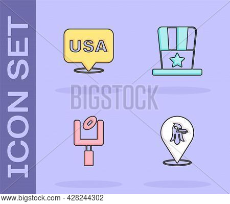 Set Eagle, Usa Independence Day, American Football Goal Post And Patriotic Top Hat Icon. Vector