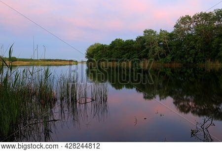 nice evening scene on river. Take it in Ukraine
