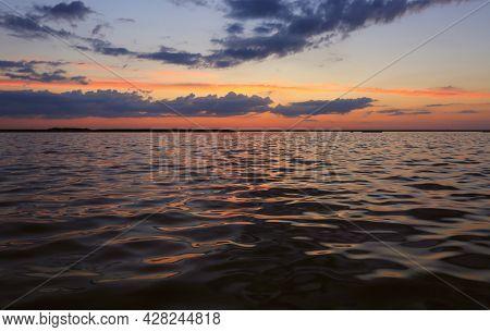 Evening landscapre after sunset on sea