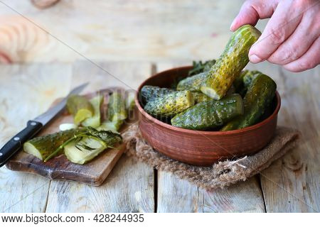 Salted Cucumbers In A Bowl. Lightly Salted Fermented Cucumbers.