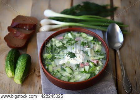 Okroshka. Summer Cold Soup In A Bowl. Slavic Cuisine.