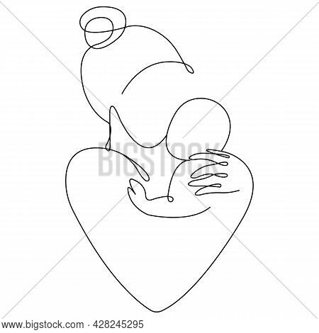 Mother And Baby In Heart Silhouette. Minimalism Style. Design Suitable For Family Planning Center, M