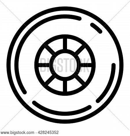 Rubber Skateboard Wheel Icon. Outline Rubber Skateboard Wheel Vector Icon For Web Design Isolated On