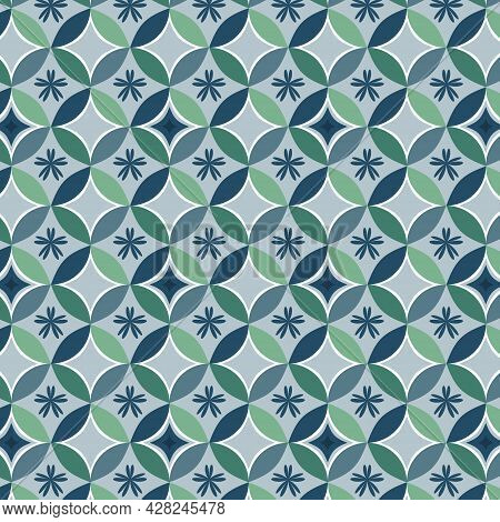 Geometric Shapes And Flower Pattern Background.monsoon Season Color Retro Oriental Style. Use For Fa
