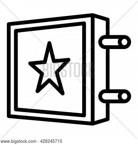 Star Banner Outdoor Advertising Icon. Outline Star Banner Outdoor Advertising Vector Icon For Web De