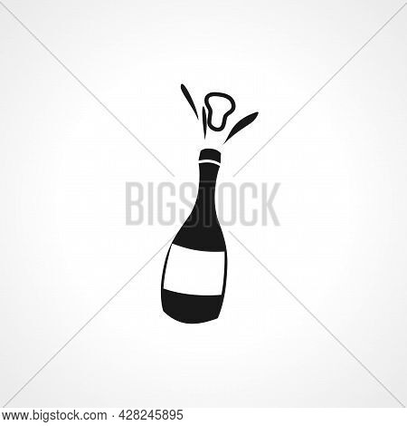 Bottle Of Champagne Icon. Champagne Simple Vector Icon. Champagne Isolated Icon.