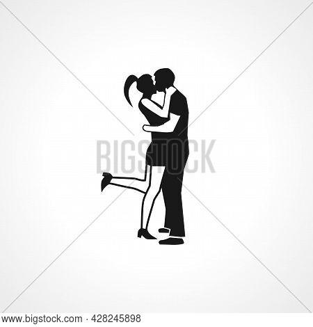 Love Couple Hugs And Kisses Icon. Love Couple Icon. Love Couple Simple Vector Icon.