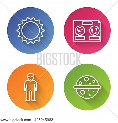 Set Line Sun, Celestial Map Of The Night Sky, Alien And Planet Venus. Color Circle Button. Vector