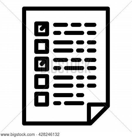 Forensic Laboratory Test Paper Icon. Outline Forensic Laboratory Test Paper Vector Icon For Web Desi