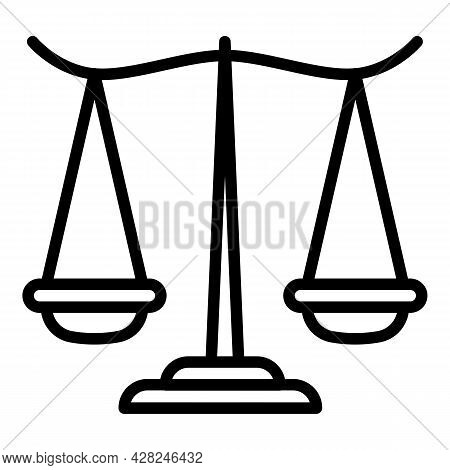 Courthouse Balance Icon. Outline Courthouse Balance Vector Icon For Web Design Isolated On White Bac