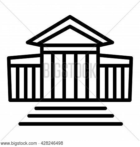 Courthouse Stairs Icon. Outline Courthouse Stairs Vector Icon For Web Design Isolated On White Backg