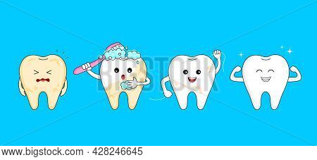 Four Steps Of Cleaning Tooth. Cartoon Tooth Character Design, Before And After. Whitening Teeth, Den