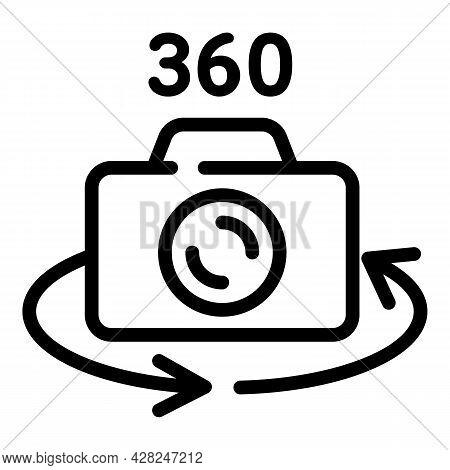 360 Grade Camera Icon. Outline 360 Grade Camera Vector Icon For Web Design Isolated On White Backgro