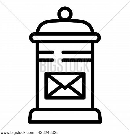 Street Mail Box Icon. Outline Street Mail Box Vector Icon For Web Design Isolated On White Backgroun